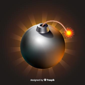 Ronde zwarte bom realistische stijl