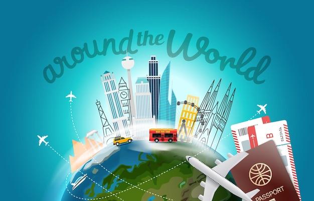 Rondom het wereldconcept met logo