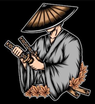 Ronin brengt katana-zwaard.