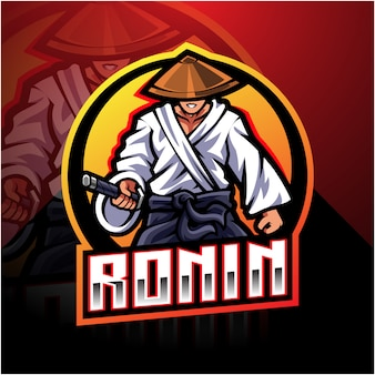 Ronin esport mascotte logo ontwerp