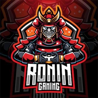 Ronin gaming esport mascotte logo ontwerp