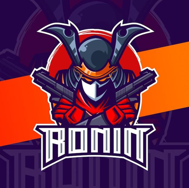 Ronin met geweren mascotte esport logo-ontwerp