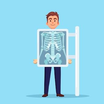 Röntgenapparaat voor het scannen van het menselijk lichaam. röntgen van borstbeen. medisch onderzoek voor een operatie