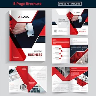 Rood 8 pagina's brochureontwerp voor het bedrijfsleven