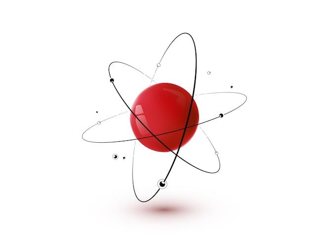 Rood atoom met geïsoleerde kern, banen en elektronen. 3d nucleaire chemie technologie concept.