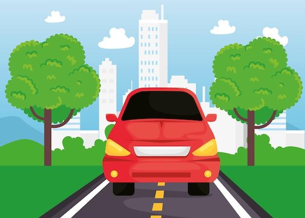 Rood autovoertuig dat in het wegontwerp reist