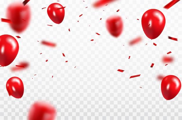 Rood ballonnen confetti conceptontwerp