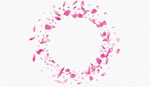 Rood blad vector transparante achtergrond. bloemblaadje vallende achtergrond. lotus zachte hoes. bloesem lente illustratie. helder roze luchtpatroon.