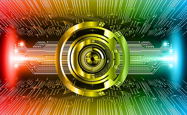 Rood blauw oog cyber circuit toekomst technologie concept achtergrond