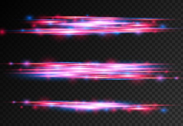 Rood blauw speciaal effect laserstralen horizontale lichtstralen beweging magie van bewegende snelle lijnen