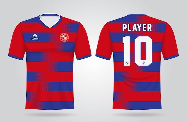 Rood blauw sportshirt sjabloon voor teamuniformen en voetbal t-shirtontwerp