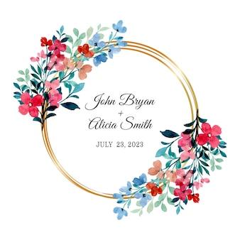 Rood blauwe wilde bloemen krans met aquarel gouden cirkel