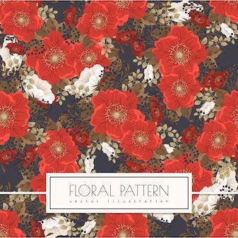 Rood bloem naadloos patroon als achtergrond