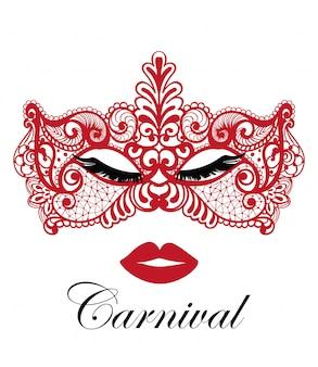 Rood carnavalmasker