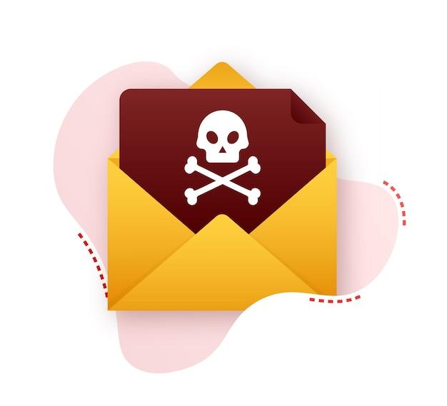 Rood e-mailvirus. virus, piraterij, hacking en beveiliging, bescherming. vector voorraad illustratie.