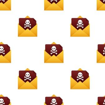 Rood e-mailviruspatroon. computerscherm. vector voorraad illustratie.