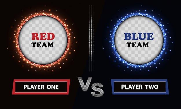 Rood en blauw bord voor vs-duel