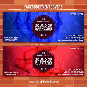 Rood en blauw evenement vector banners
