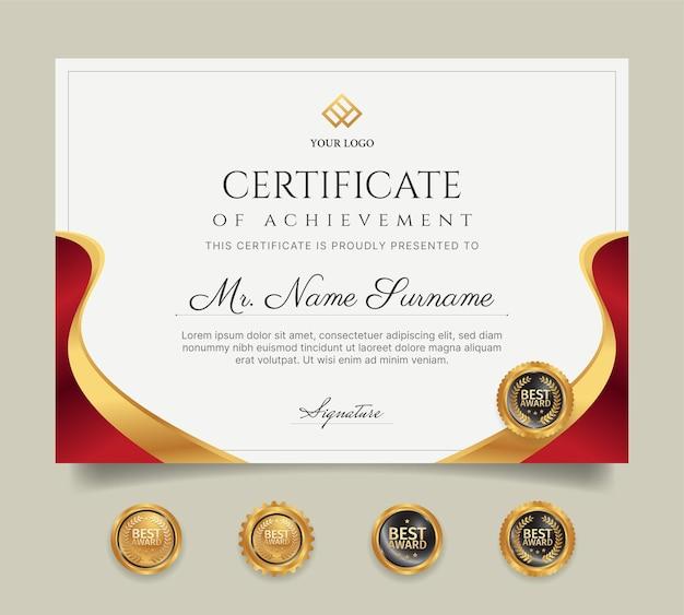 Rood en goud certificaat van prestatie grenssjabloon