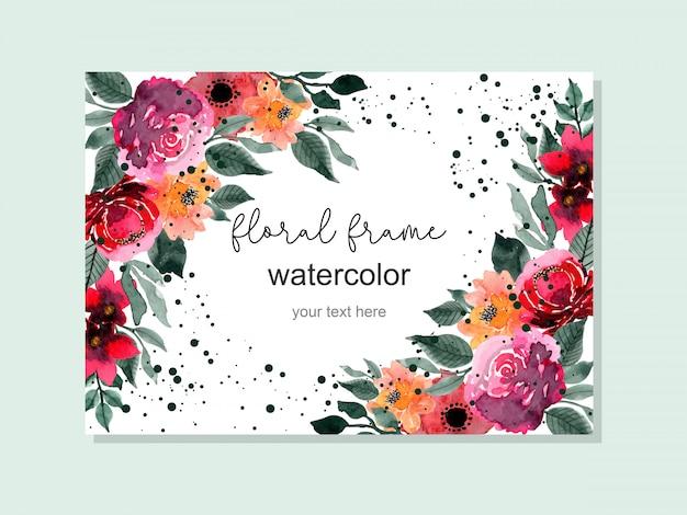 Rood en groen bloemenwaterverfkader