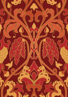 Rood en oranje bloemenpatroon. naadloze patroon met bloemen en kolibrie.
