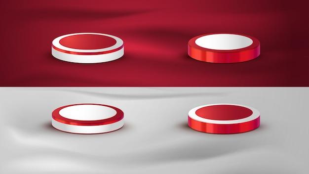 Rood en wit realistisch podium voor het verkoopelement van de onafhankelijkheidsdag van indonesië met vlag