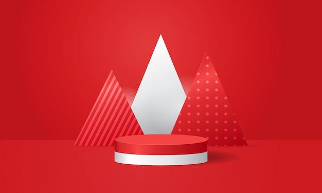 Rood en wit themapodium voor productshowcaseweergave minimaal modern podium realistisch vectorontwerp