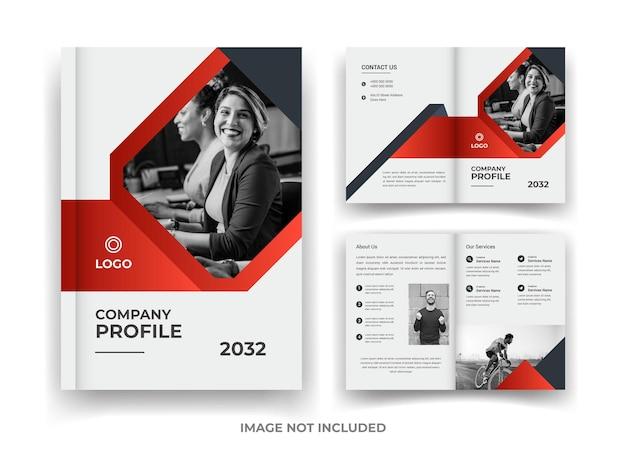 Rood en zwart 04 pagina's zakelijke brochureontwerp en jaarverslag en tijdschriftsjabloon