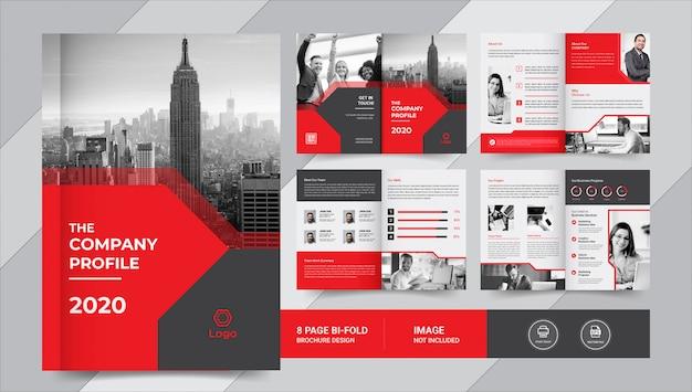 Rood en zwart 8 pagina's zakelijk brochureontwerp