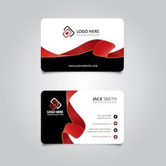 Rood en zwart stijlvol lint visitekaartje