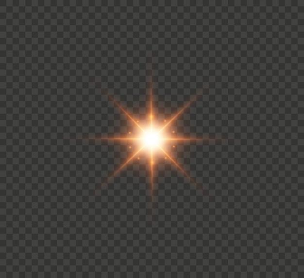 Rood gloed lichteffect met heldere stralen. de ster explodeerde met glitters en hoogtepunten. illustratie.