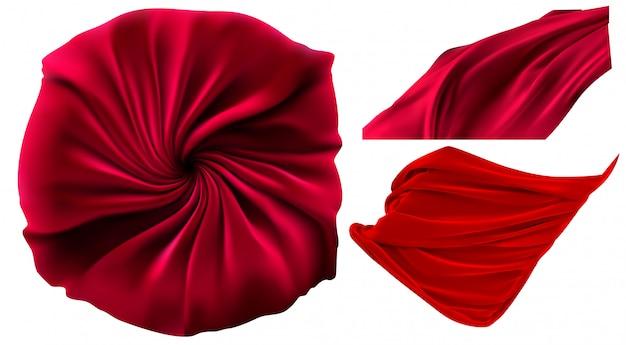 Rood gordijn. 3d-realistische set