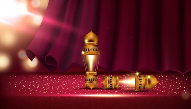 Rood gordijn in theaterzaal met veer lantaarn en kralen op het podium
