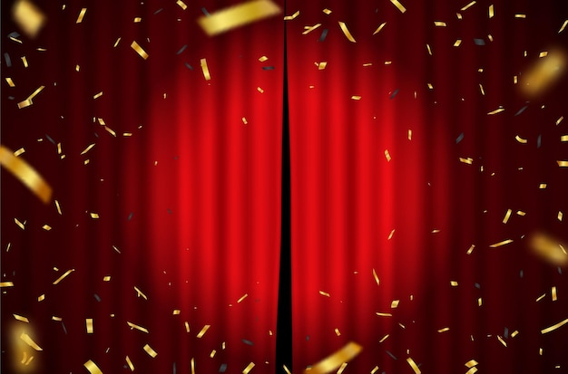 Rood gordijn met vallende gouden confetti achtergrond