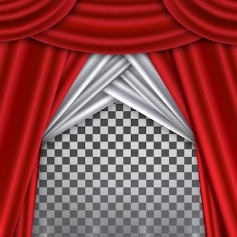 Rood gordijn op theater- of bioscoopreuzen