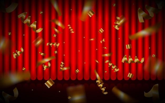 Rood gordijn theatergordijn vector achtergrond gesloten rood gordijn