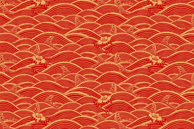 Rood goud chinese kunst golfpatroon achtergrond