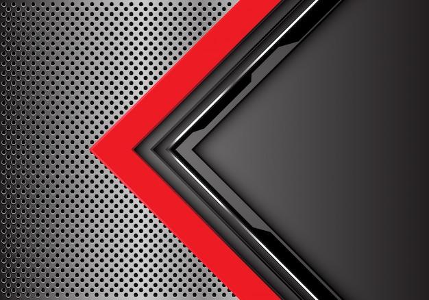 Rood grijze cirkel pijl richting metalen cirkel mesh achtergrond.