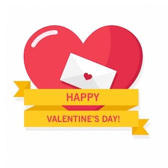 Rood groot hart met envelop en geel lint voor de groeten en de kaart van de valentijnsdag