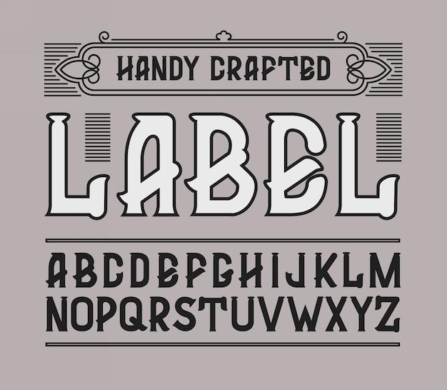 Rood handig vervaardigd vintage etiketlettertype.