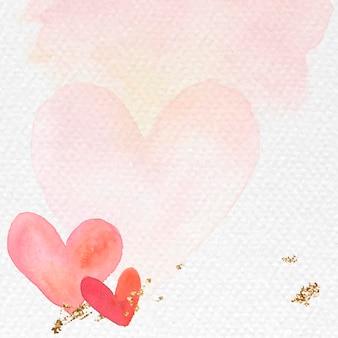 Rood hart aquarel achtergrond