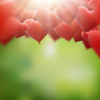 Rood hart ballonnen vliegende bos.