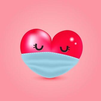 Rood hart dat gezichtsmasker draagt om covid-19 te vermijden.