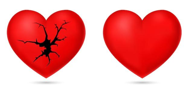 Rood hart gebroken 3d