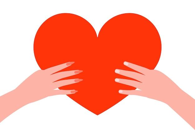 Rood hart gehouden in handen van liefhebbers man en vrouw illustratie