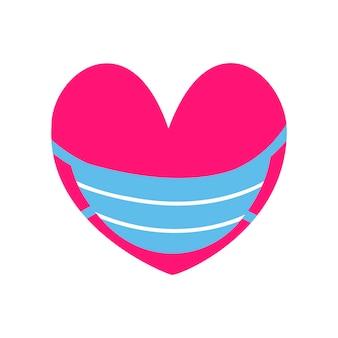 Rood hart in een medisch masker. vector illustratie. ontwerp voor medicijnen, stickers, reclame, valentijnsdag