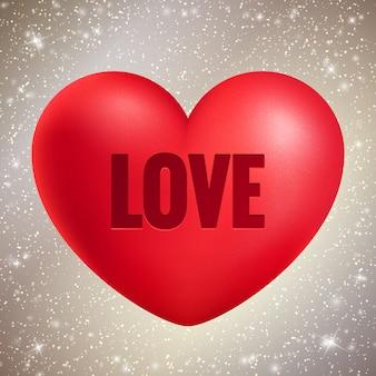 Rood hart met liefdetekst op glanzende glitter