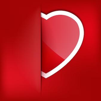 Rood hart papier sticker met schaduw valentijnsdag.