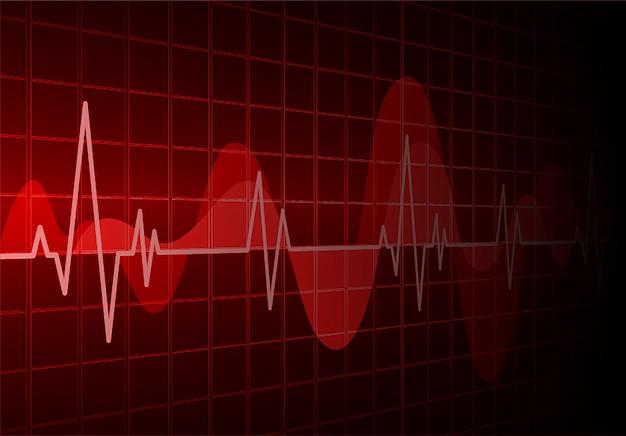 Rood hart-pulsmonitor met signaal