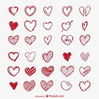 Rood hart tekeningen